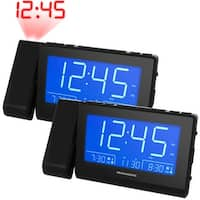 Magnasonic Alarm Clock Radio with USB Charging, Time Projection, Auto Dimming, Dual Gradual Wake Alarm - 2 Pack