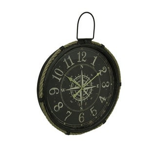 Round Compass Rose Nautical Metal Wall Clock w/Rope Accent