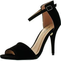 Wild Rose Women's  Reggie01 Peep Toe Pumps Sandals - black velvet pu