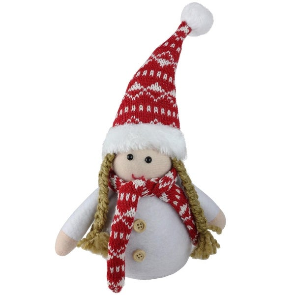 """8"""" Retro Christmas Brown Pigtail Table Top Christmas Gnome Decoration"""