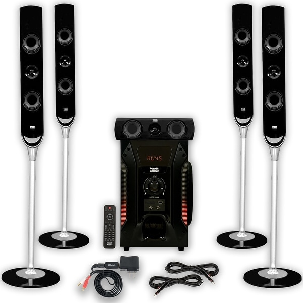 Acoustic Audio AAT1000 Tower 5.1 Speaker System with Bluetooth and 2 Ext. Cables