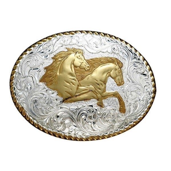 Crumrine Western Belt Buckle Two Running Horses Silver Gold - 3 x 4