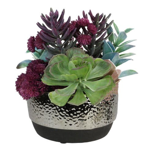 "8"" Purple and Green Potted Artificial Succulent Arrangement"