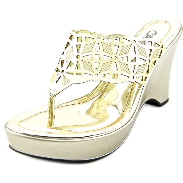 Carlos by Carlos Santana Madison Women Open Toe Synthetic Gold Thong Sandal