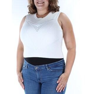 RACHEL ROY $79 Womens New 1100 Ivory Sleeveless Crop Top Sweater 2X B+B