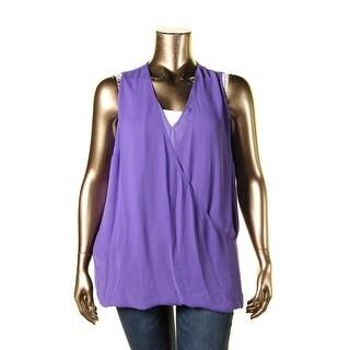 Lauren Ralph Lauren Womens Plus Casual Top Polyester Solid
