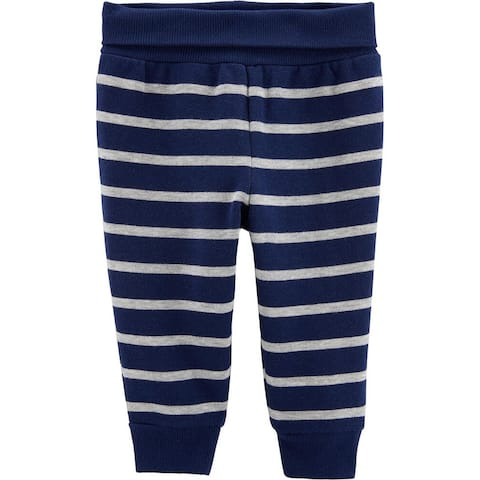 Carter's Baby Boys'Striped Pull-On Fleece-Lined Pants, Navy