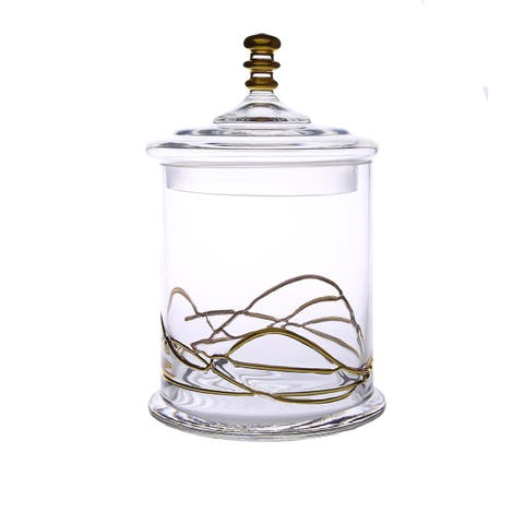 Medium Size Glass Swirl Design Jar with Lid
