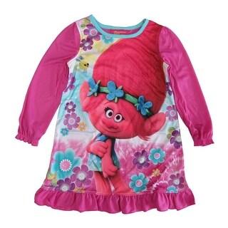 DreamWorks Trolls Girls Fuchsia Long Sleeve Ruffle Poppy Nightgown
