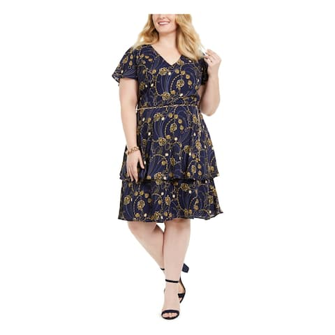 TEEZE ME Navy Short Sleeve Knee Length Dress 20