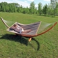 Sunnydaze Wooden Curved Arc Hammock & Hammock Stand, 13 Feet Long, 400 Pound Capacity - Thumbnail 9
