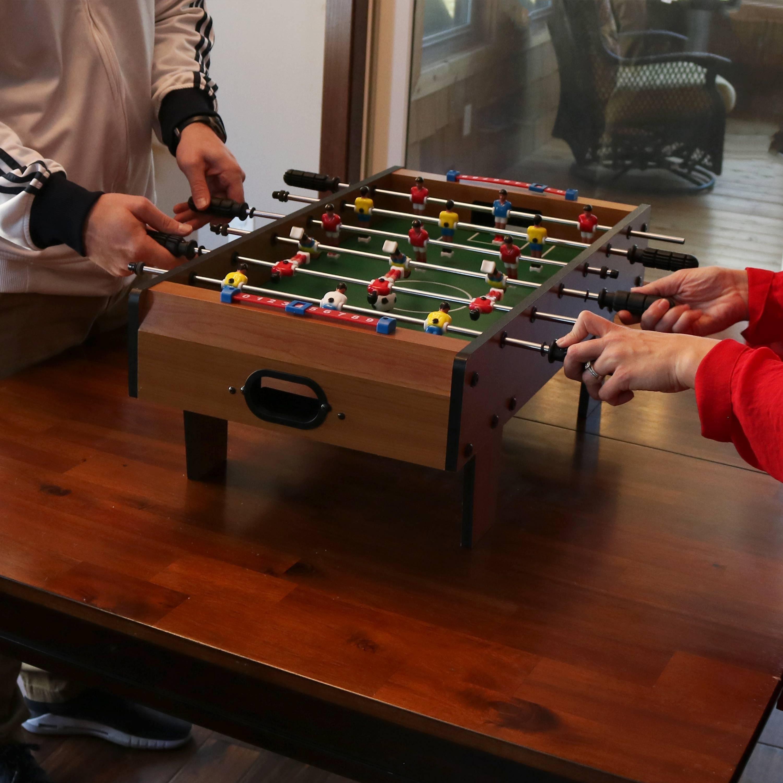 Sunnydaze 28 Inch Tabletop Foosball Game With Legs   Mini Sports Arcade  Soccer