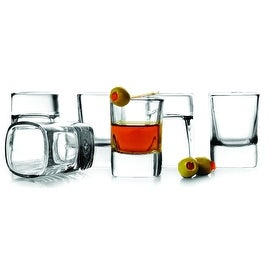 Palais Glassware Elegent Heavy Base 'Carré', Clear, Square Shot Glass Set, 2 Ounce
