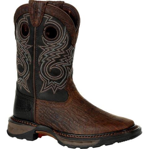 #DBT0228Y, Lil' Durango® Maverick XP Big Kid's Black Western Boot - BURLY BROWN AND BLACK
