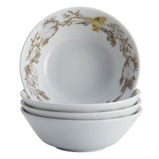 BonJour Dinnerware Fruitful Nectar Porcelain 4-Piece Fruit Bowl Set - White
