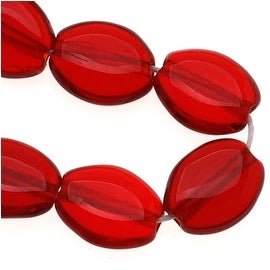 Czech Glass 8 x 6mm Flat Smooth Oval Dark Ruby Red (25)