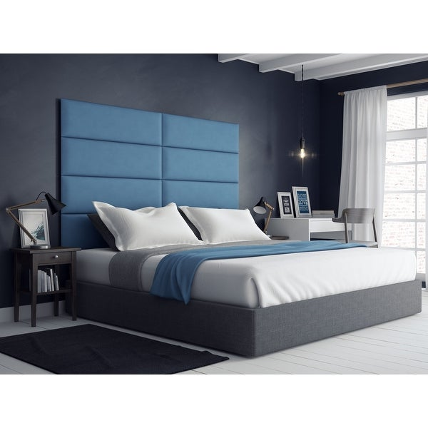 Vant Upholstered Wall Panels (Headboards) Sets of 4 - Micro Suede Ocean Blue - 39 Inch - Twin-King.