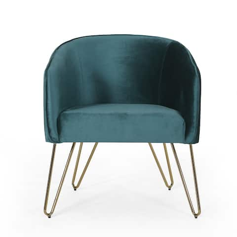 "Grelton Modern Glam Velvet Club Chair with Hairpin Legs by Christopher Knight Home - 27.50"" L x 24.50"" W x 31.00"" H"