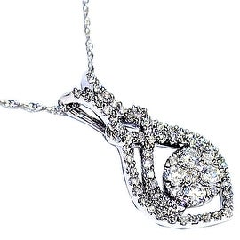 Diamond Drop Pendant 1/2cttw 14K White Gold With 18 inch Necklace