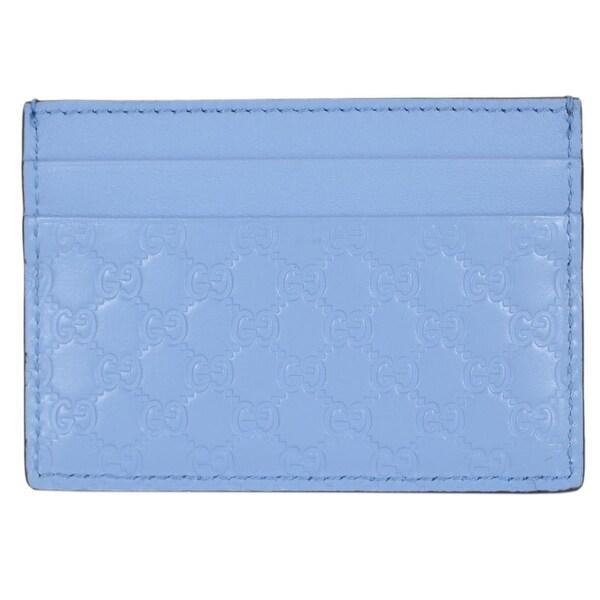 """Gucci 476010 Mineral Blue Leather Micro GG Guccissima Small Card Case - 4"""" x 2.75"""""""