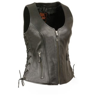 Womens Side Lace Black Leather Biker Vest W/ Stitch Detailing (More options available)