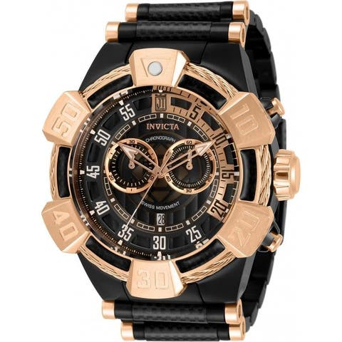 Invicta Men's 32832 'Jason Taylor' Black and Rose-Tone Polyurethane and Stainless Steel Watch