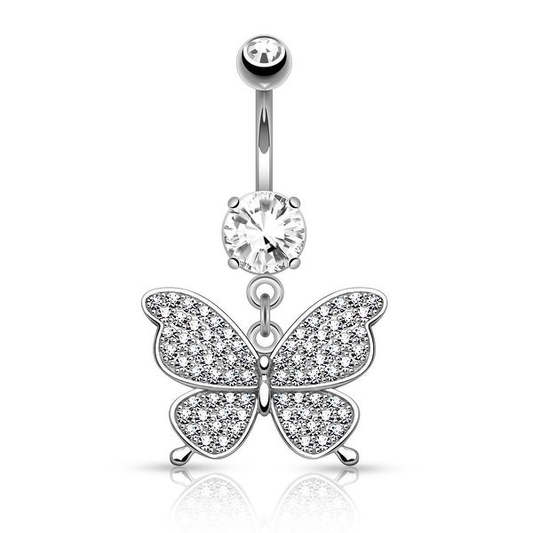 """Micro Pave CZ Butterfly Dangle Surgical Steel Belly Button Navel Ring-14GA-3/8"""" Length (Sold Ind.)"""