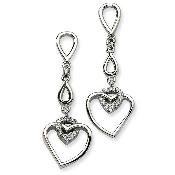 Chisel Stainless Steel Polished Teardrops & Heart with CZ Heart Post Dangle Earrings