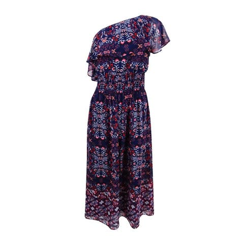 Vince Camuto Women's Printed One-Shoulder Maxi Dress - Navy Multi
