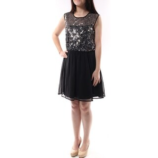 Womens Black, Silver Sleeveless Knee Length Fit + Flare Party Dress Size: 7