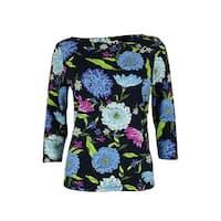 Charter Club Women's Floral Print Button-Shoulder Top - intrepid blue combo - pm