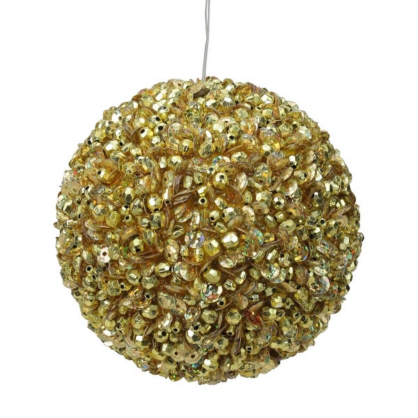 "Lavish Gold Fully Sequined & Beaded Christmas Ball Ornament 4.25"" (110mm)"
