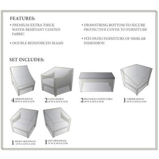 Miseno MPF-MHTN11AWC NYC 11-Piece Canvas Winter Cover for the MPF-MHTN11A Outdoor Conversation Set - beige