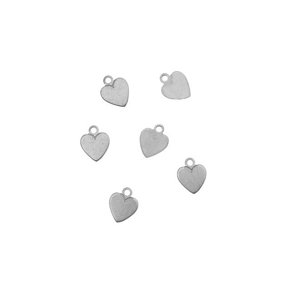 Silver Color Nickel Alloy Small Heart Pendant Blanks - 7.5x6mm 24 Gauge (6)