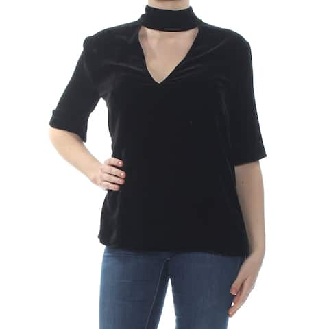 THEORY Womens Black Ankle Zip Choker 3/4 Sleeve V Neck Top Size: S