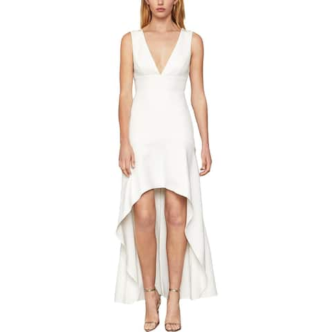 BCBG Max Azria Women's Plunging High-Low Sleeveless Flounce Hem Gown - Off-White
