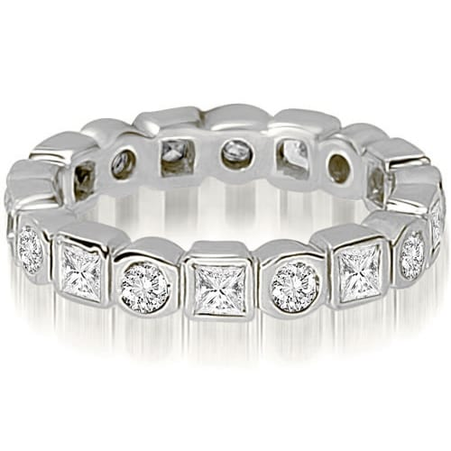1.45 cttw. 14K White Gold Round and Princess Diamond Eternity Ring