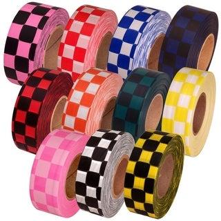 "Tape Planet Checkerboardd Flagging Tape 1-3/16"" Non-Adhesive Plastic Ribbon (12 Roll/Case)"