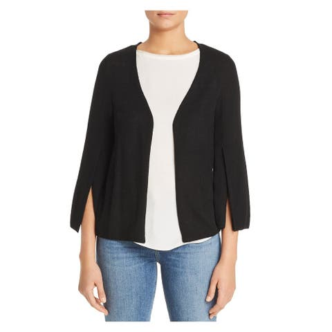 LE GALI Womens Black 3/4 Sleeve Open Cardigan Sweater Size: L