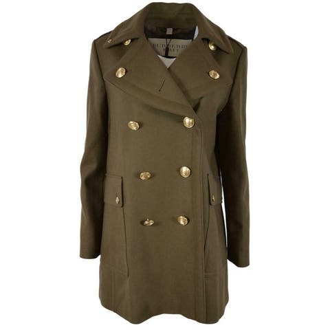Burberry Women's $695 Olive Green Wool Blend Bellamy Military Pea Coat