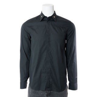Givenchy Mens 100% Cotton Grey Metal Accent Collar Button Down