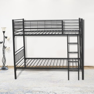 Link to round  metal tube black twin bunk beds with build-in-ladder for easy access to upper bunk Similar Items in Kids' & Toddler Beds