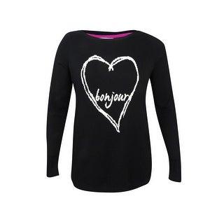 Charter Club Women's Plus Size Bonjour Heart Graphic Sweater - deep black combo