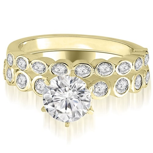 0.94 cttw. 14K Yellow Gold Bezel Set Round Cut Diamond Bridal Set
