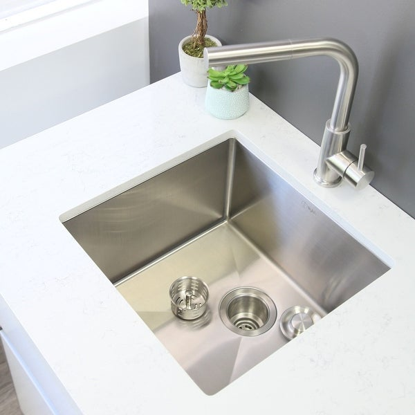 """19""""L x 18""""W Stainless Steel Single Basin Undermount Kitchen Sink with Grid and Strainer"""