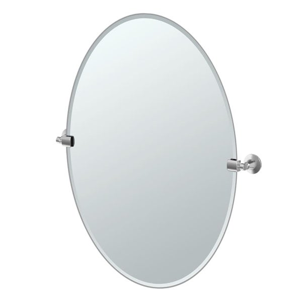"Gatco 4859LG Max 28-1/2"" Oval Beveled Wall Mounted Mirror with Satin Nickel Accents - N/A"