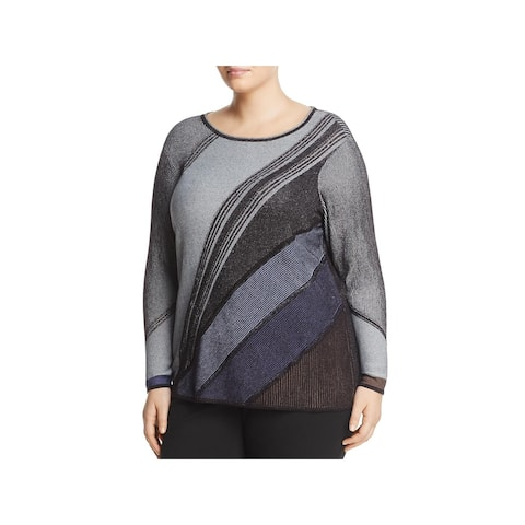 Nic + Zoe Womens Plus Pullover Top Textured Patchwork