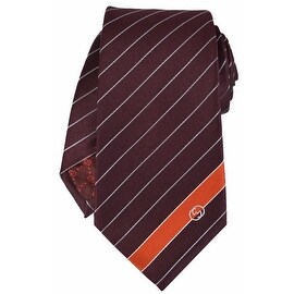 Gucci Men's 408866 Burgundy Malo Woven Silk Interlocking GG Striped Neck Tie
