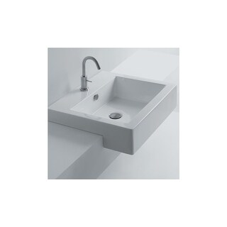 """WS Bath Collections Hox 48S WS03801F Whitestone 19"""" Ceramic Recessed or Drop In Bathroom Sink with Single Faucet Hole"""