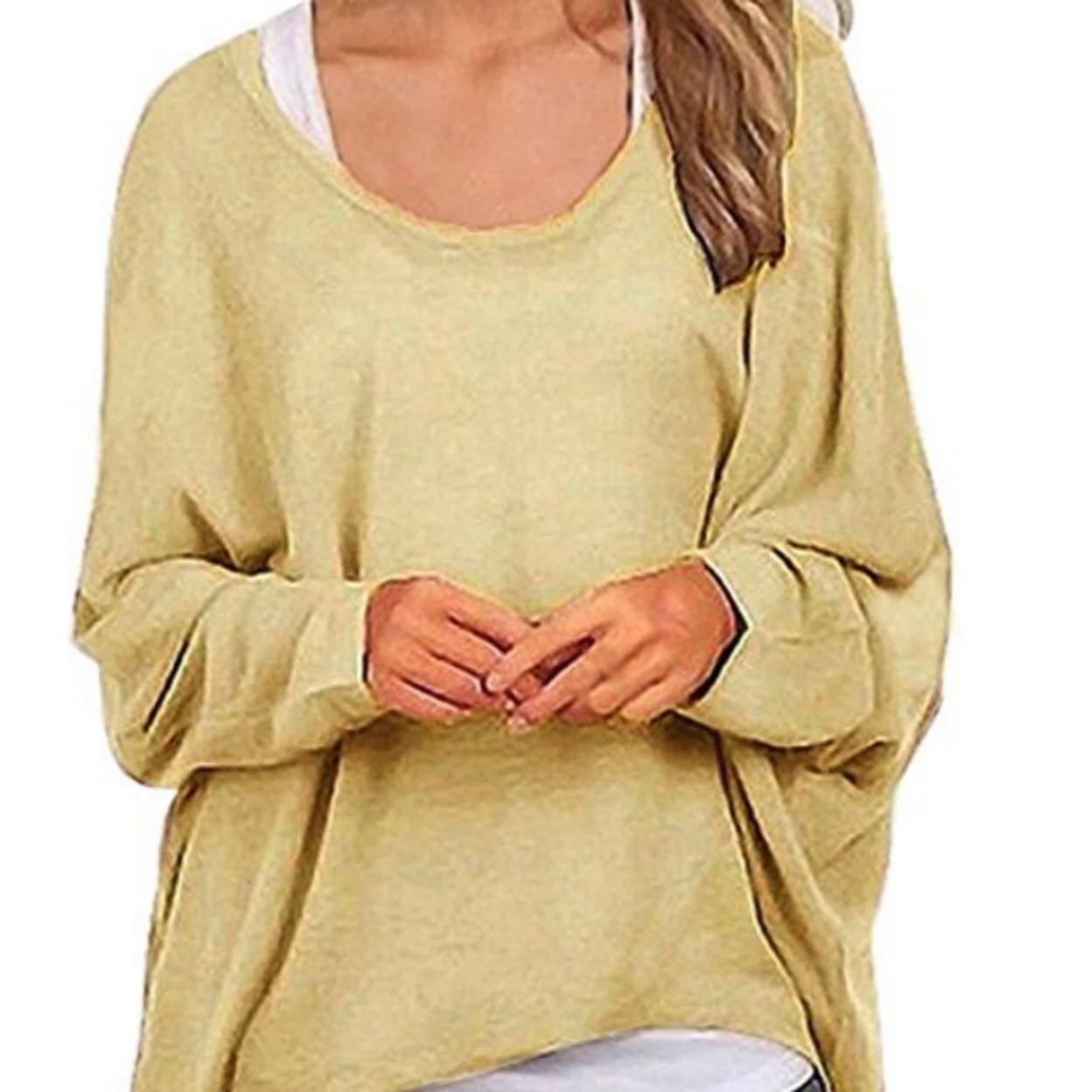KISSMODA Womens Casual V Neck Off-Shoulder Batwing Sleeve Pullover Sweater Blouse